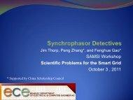 SAMSI Workshop Scientific Problems for the Smart Grid October 3 ...