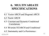 Multivariate ARCH models I - SAMSI