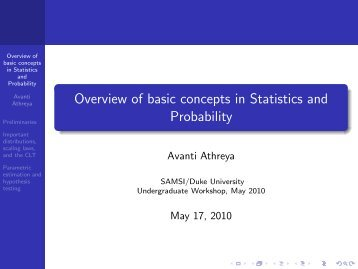 Overview of basic concepts in Statistics and Probability - SAMSI