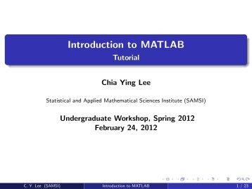 Introduction to MATLAB - Tutorial - SAMSI