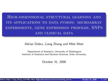 High-dimensional structural learning and its applications to ... - SAMSI