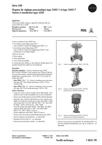 Série 240 Organe de réglage pneumatique type 3345-1 et type ...