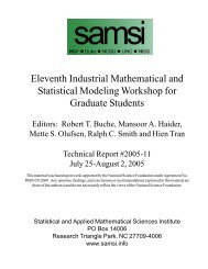 Eleventh Industrial Mathematical and Statistical Modeling ... - SAMSI