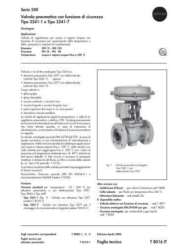 Foglio tecnico T 8016 IT Serie 240 Valvola pneumatica ... - Samson