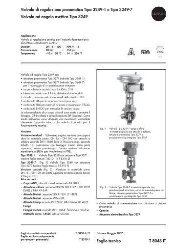 Valvola di regolazione pneumatica Tipo 3249-1 e Tipo ... - Samson