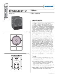 Download the RS15S Tech Sheet in .pdf format - Samson