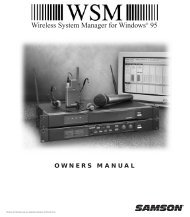 Wireless System Manager owner's manual - Samson