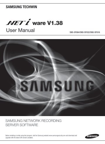 User manual - Samsung Techwin UK