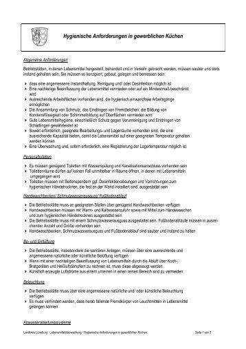 Merkblatt Anforderungen In Gewerblich Genutzten Kuchen Luneburg