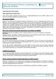 Informationsblatt für Patienten, Angehörige und Besucher bei MRSA