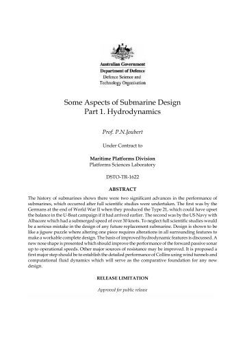 some aspects of submarine design hydrodynamics Journal of scientific and engineering research 1 journal of scientific and engineering research, 2016, 3(1)  some roles in submarine hydrodynamic design,.