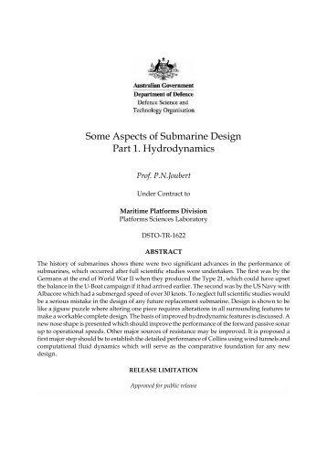 Some aspects of submarine design hydrodynamics