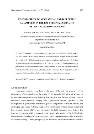time stability of mechanical and dielectric parameters in the pzt type ...