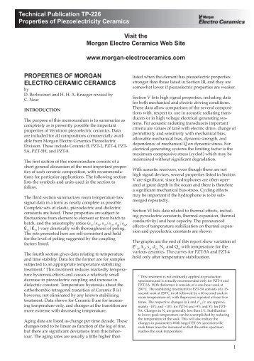 Technical Publication TP-226 Properties of Piezoelectricity Ceramics