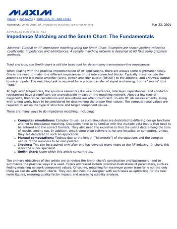 Impedance Matching and the Smith Chart: The Fundamentals - AN742
