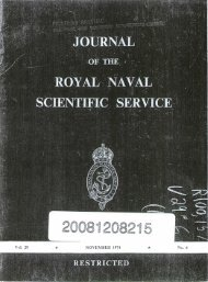 Journal of the Royal Naval Scientific Service. Volume 29, Number 6 ...