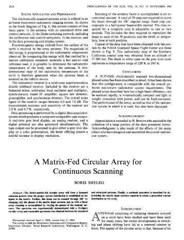 A Matrix-Fed Circular Array for Continuous Scanning