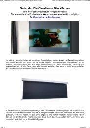Die Kontraststarke Projektion - Tageslichtprojektion