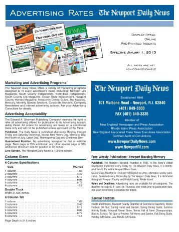 Newport Daily News Rate Card