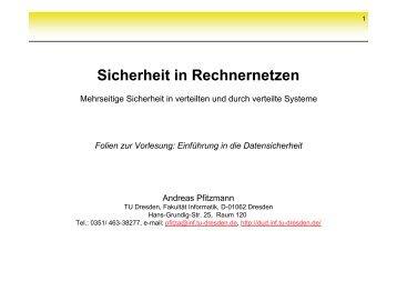Sicherheit in Rechnernetzen - Professur Datenschutz und ...