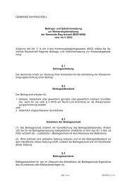 Beitrags- und Gebührensatzung zur Wasserabgabesatzung