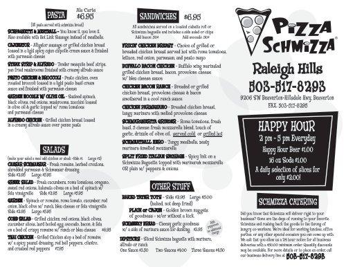 Download Our Menu (PDF) - Pizza Schmizza