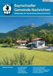 Bayrischzeller Gemeindenachrichten Sommer 2013