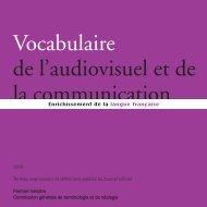 Vocabulaire de l'audiovisuel et de la communication - Délégation ...