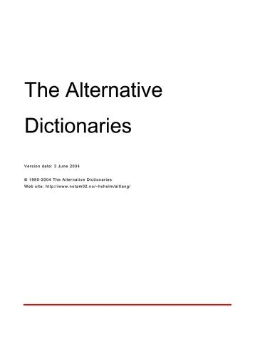The Alternative Dictionaries