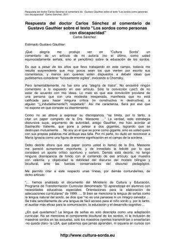 Respuesta del autor al comentario de Gustavo ... - cultura Sorda
