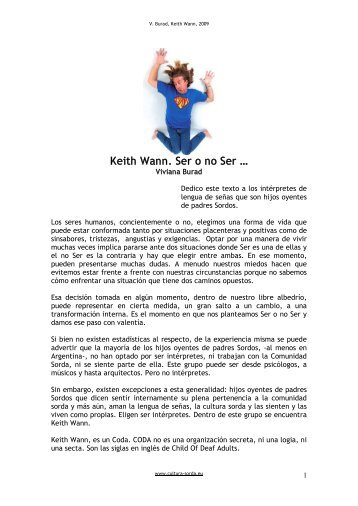 Keith Wann. Ser o no Ser … - cultura Sorda