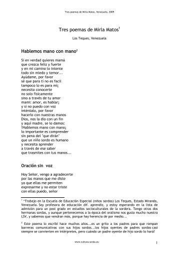 Tres poemas de Mirla Matos - cultura Sorda