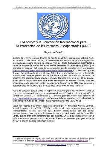 Los Sordos y la Convención de la ONU sobre ... - cultura Sorda