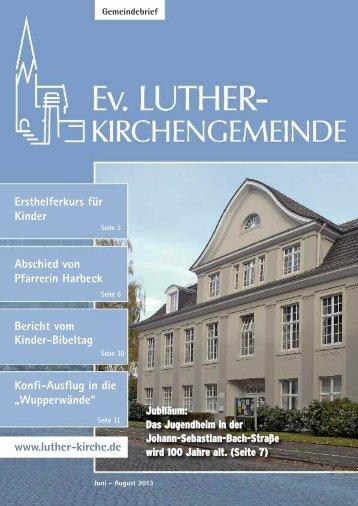 Juni-August 2013 - Ev. Luther-Kirchengemeinde Remscheid