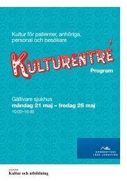 Program Kulturentré Gällivare sjukhus 21-25 maj (pdf-fil,, 537 kB)