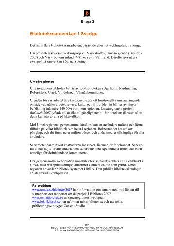 Bilaga 2 - Bibliotekssamverkan i Sverige - Norrbottens läns landsting