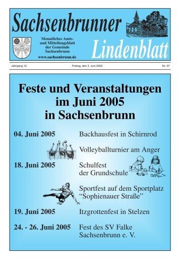 Feste und Veranstaltungen im Juni 2005 in Sachsenbrunn