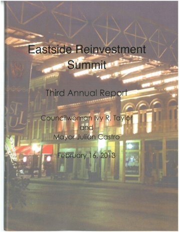 Eastside Reinvestment Summit Part 1 2013 - The City of San Antonio