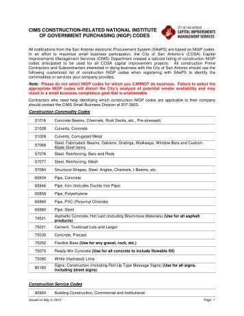 Construction Prime Contractors and Subcontractors NIGP codes