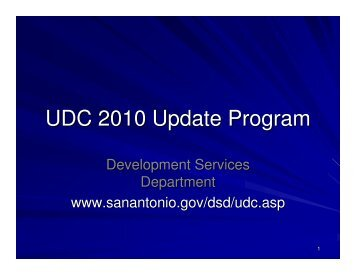 UDC 2010 Update Program - The City of San Antonio