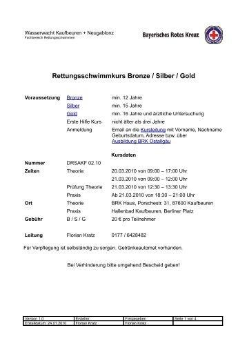 Rettungsschwimmkurs Bronze / Silber / Gold