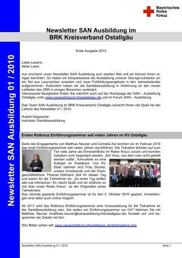 Newsletter SAN Ausbildung 01 / 2010 - Sanitätsausbildung
