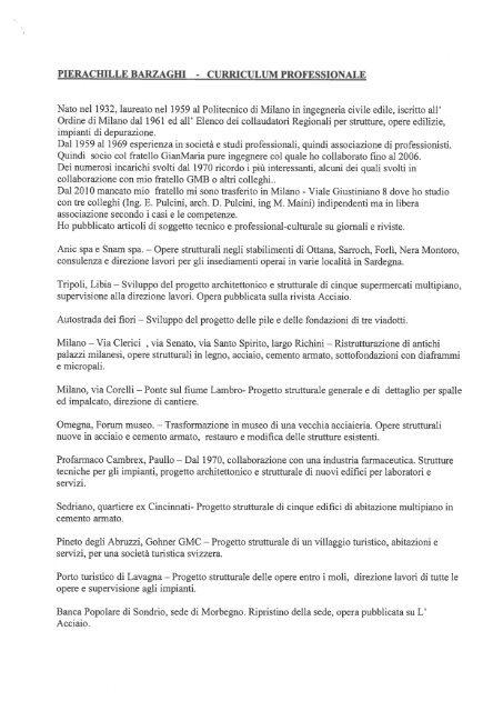 PIERACHILLE BARZAGHI - CURRICULUM PROFESSIONALE