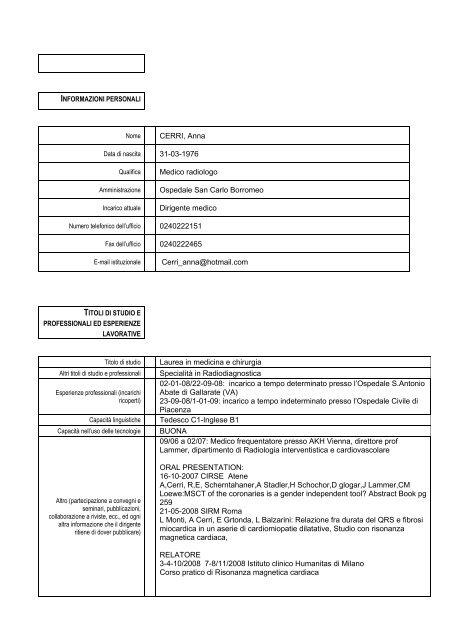 curriculum vitae - Ospedale San Carlo Borromeo