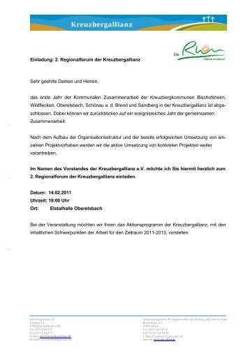 Einladung: 2. Regionalforum der Kreuzbergallianz Sehr geehrte ...