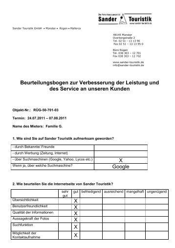 Beurteilungsbogen- Aufenthalt 24.07. - Sander Touristik GmbH