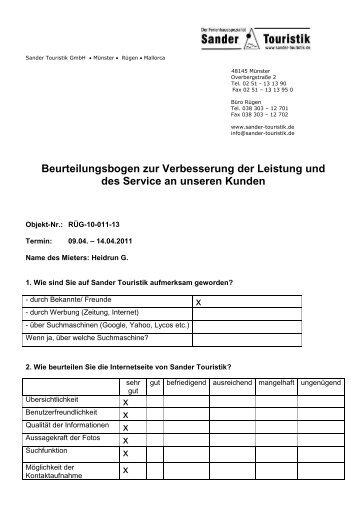 Beurteilungsbogen- Aufenthalt 09.04. - Sander Touristik GmbH