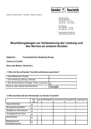 Beurteilungsbogen- Aufenthalt 04.05. - Sander Touristik GmbH