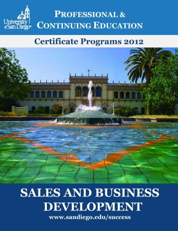 SALES AND BUSINESS DEVELOPMENT - University of San Diego
