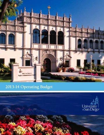 2012-13 Operating Budget - University of San Diego